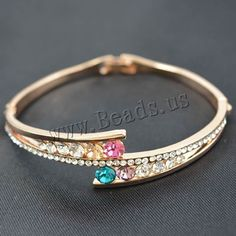 Zinc Alloy Bangle, gold color plated, with rhinestone, lead & cadmium free, 190mm, Inner Diameter:Approx 55mm, Length:Approx 7 Inch, 3PCs/Bag,china wholesale jewelry beads