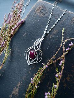 Ruby sterling silver pendant - Ruby necklace - wire wrapped silver pendant - romantic gift jewelry - July birthstone