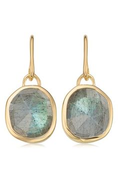 The Gold Vermeil Siren Wire Earrings - Labradorite from Monica Vinader. Shop now for free global delivery. Labradorite Jewelry, Wire Earrings, Diamond Studs, Beaded Jewelry, Jewellery, Pure Products, Gemstones, Europe, Numbers