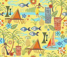 Mid Century Hawaiian fabric by vinpauld on Spoonflower - custom fabric