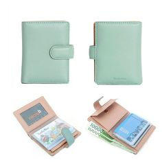 Natural Leather Latte Mini Slim Wallet Women Useful Multi Card Wallets Small Purse (Sky Blue)