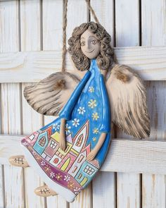Guardian Angel Clay Sculpture Ceramic art Wall Decoration Little Gift Romantic Style Rustic home decor Colored figurine Ornament angel Wall Decoration Images, Wall Art Decor, Sculptures Céramiques, Sculpture Clay, Ceramic Elephant, Ceramic Art, Clay Projects, Clay Crafts, Clay Angel