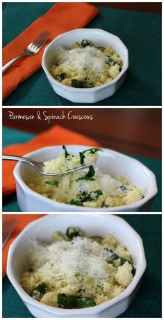 This parmesan & spinach couscous recipe only takes a few minutes to make! Via @elizparent
