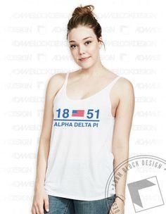 Alpha Delta Pi Americana Tank by Adam Block Design | $19 or less each plus shipping | www.adamblockdesign.com