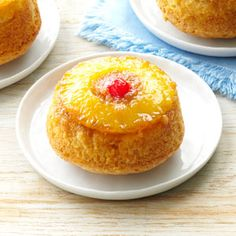 Pineapple Upside-Down Cupcakes Recipe -I have baked cupcakes for years since I served as a room mother for my three children. These easy-to-make, jumbo treats make an attractive dessert for special occasions or everyday. —Barbara Hahn, Park Hills, Missouri