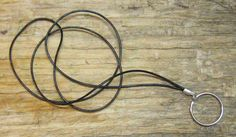BLACK Leather .. Unisex ID Badge Holder Lanyard / by klckreations