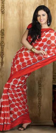 Off White and Red Super Net Saree with Blouse    Itemcode: SRP75    Price: US $37.12    Click @ http://www.utsavfashion.com/store/sarees-large.aspx?icode=SRP75