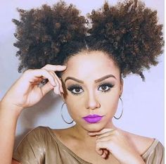 These are the cutest afro puffs, natural hair girls... you could achieve this look, too!