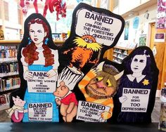 """Banned Book Display 2015 -- """"This amazing library display features a line-up of literary characters from books that have been banned at one point in time. Created by Rachel Moani of the Lacey Timberland Library in Washington state for Banned Book Week, it highlights a few of the reasons the books have been banned by either a school or community library..."""" -- LOVE this display!! See more of her amazing displays here: https://www.pinterest.com/rachelmoani/my-library-displays-rachel-moani/"""