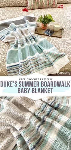 How to Crochet Duke's Summer Boardwalk Baby Blanket - - You can go wrong with neither stripes nor rainbows. These crochet blanket patterns are timeless and can be reinterpreted in many ways. Stripes and. Single Crochet Stitch, Basic Crochet Stitches, Crochet Basics, Easy Crochet Patterns, Crochet Stitches For Blankets, Knit Blankets, Kids Crochet, Crochet Afghans, Beginner Crochet Blankets