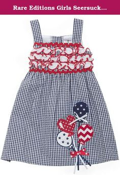 Rare Editions Girls Seersucker Gingham Dress w/ Balloons Applique, Navy, 6-9m. Fresh seersucker dress, ideal for any special occasion....Birthday, 4th of July.