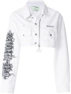 Shop Off-White zipped cropped denim jacket Kpop Fashion Outfits, Girls Fashion Clothes, Stage Outfits, Mode Outfits, Stylish Outfits, Modest Fashion, Vetements Clothing, Crop Top Outfits, Skirt Outfits