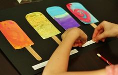 Watercolor techniques turned into Popsicles!  Use note cards for each technique. I like the idea of taking a practice activity and making it a keeper.