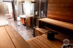 Modern Wooden Finnish Sauna and bathroom. Minimal design with warm colors. Sauna Benches from alder. Custom made roof panelling is also same shade as the sauna. Finnish Sauna, Panelling, Minimal Design, Warm Colors, Joinery, Modern Bathroom, Benches, Solid Wood, Minimalism