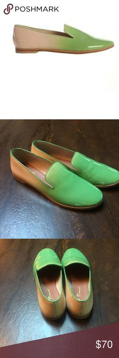 matt bernson green patent leather flats Color is true in actual pics - hard to get right lighting. Patent leather mules worn once. Leather sole. Green/tan ombré pattern. Matt Bernson Shoes Flats & Loafers
