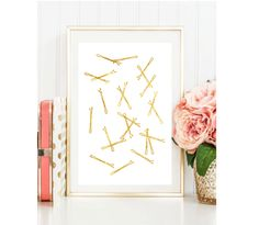 Example Of Real Foil Quality. Due to the nature of the foil there may be slight imperfections, this is normal. Frame Wall Decor, Frames On Wall, Rose Gold Wall Art, Salon Gold, Clip Frame, Gold Foil Print, Hair Pins, Wall Art Prints, Vintage