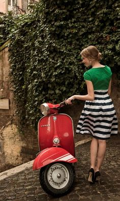 "gw1: "" dailyvespa: "" Red Vespa with stylish girl "" Style! """