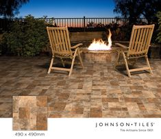 Framing your firepit with the rustic charm of cobblestones is a wonderful way to embrace stone-look patterns. Our Monazite Cobblestone 490x490mm pressed tile from the Stone Collection has 4 faces and a slip-resistant finish. #tiledesign #interiordesign #MadeinSA #stone #stonelook #cobblestones #nature #bespokedesign Johnson Tiles, Wall And Floor Tiles, Bespoke Design, Stone Tiles, Glazed Ceramic, Rustic Charm, Tile Design, Natural Stones, Faces