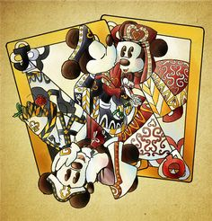 Falling Like a House of Cards | by Elera @ DeviantART.com // #disney; mickey and minnie mouse