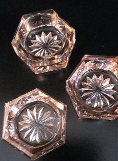 Antique Pink Depression Glass Hexagonal Salt cellars or Salts.