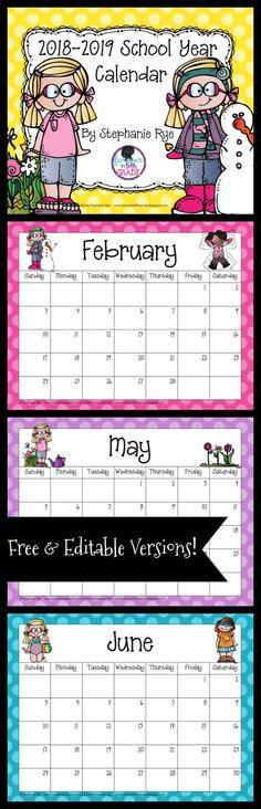 Grab this school year calendar for free! School 2017, 1st Day Of School, Beginning Of The School Year, Back To School, School Stuff, Teacher Binder, Teacher Organization, Organized Teacher, Organizing