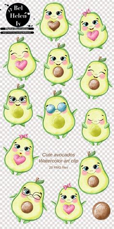 Cute Illustration, Digital Illustration, Cute Picture Quotes, Fruits Drawing, Cute Avocado, Cute Disney Drawings, Clip Art, Christmas Clipart, Animal Decor