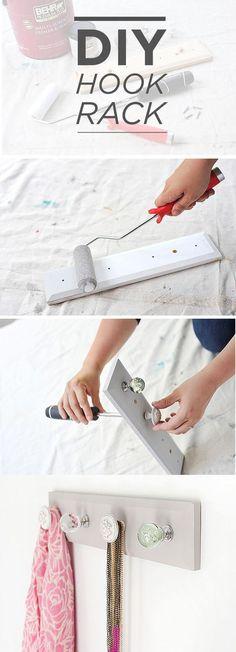 DIY Hook Rack Using Cabinet Knobs
