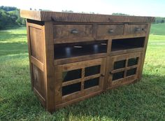 """Aged Oak TV Console by 2ndCenturyFurniture on Etsy Console Overall Dimensions: Width: 52"""" x Depth: 18"""" x Height: 32"""""""
