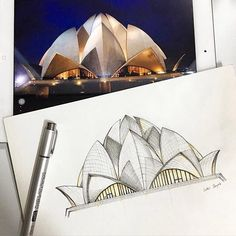 The Lotus Temple New Delhi - with its 27 freestanding marble-clad 'petals'. Drawing from photos is a great way to improve your skills. Love this work by @hwi.y #ArchiSketcher ArchiSketcher.com