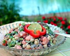 Chipotle Chickpea Salad, beans mixed with summer-fresh vegetables and a smidgin of heat. Recipe, tips, nutrition, Weight Watchers points and rave reviews @ AVeggieVenture.com.