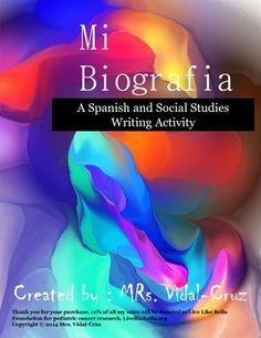 Mi Biografia, is a Spanish and Social Studies writing activity including printables to get to know your students, specially in a cultural diverse classroom.  It is perfect for open house, parent night, or the first semester of school.Mi Biografia, can also be used as a cultural lesson in Social Studies to discover and share the individuality and nationality of your students.