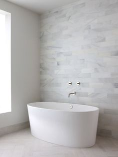 beautiful and simple | bathroom | bathtub | white | stone tile wall