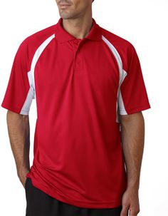badger b-dry hook polo - red / white (xl)
