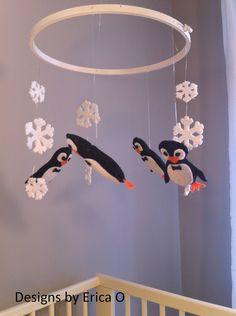 Image detail for -... Mobile - Felt Mobile - Nursery Mobile - Tuxedo Penguin Baby Mobile
