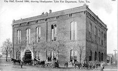 Tyler Texas - 1886 City Hall, Locust Street Fire Station, old postcard. The tallest two story building.