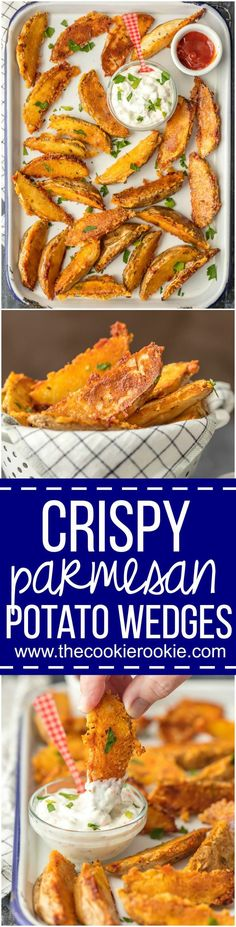These CRISPY PARMESAN POTATO WEDGES are so absolutely delicious and EASY! You'll never go back to regular fries after you try these thick potato wedges coated in a crispy cheese shell. Just too good! via @beckygallhardin