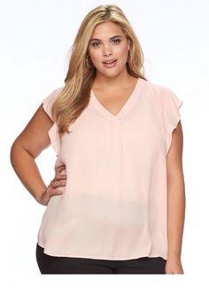 acdb5d0dee4 Apt.9 Women Top Flutter Sleeves V-Neck Evening Sand Blouse PLUS SZ OX Shirt  NWT