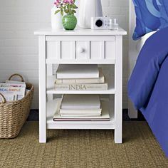 Brighton White Nightstand | Crate and Barrel
