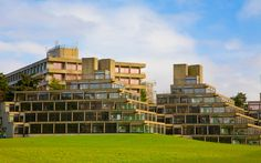 Brutalist buildings appeared at many universities in Britain and the US in the late 1960s, a notable example being Denys Lasdun's halls of residence at the University of East Anglia.