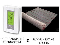 "180 Sqft Mat, 240 Volt, Electric Radiant Floor Heat Heating System with Aube Digital Floor Sensing Thermostat by Warming Systems Inc.. $899.00. Electric Floor Warming System used to heat tile flooring. The system is designed to heat the designated square footage when installed in mortar under tile or masonry flooring. The heating mat is simply layed out on the floor in the area you want to heat prior to tile installation. The heating element is less than 1/8"" thick, s..."