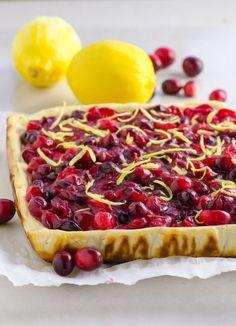 Clean Eating Cranberry Lemon Cheesecake Bars Recipe