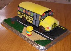 school bus cake--I especially like the idea of stacking a regular 9x13 in. cake and not a pound cake.