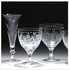 William Yeowards Fern pattern crystal wine goblets a twenty year favorite Cut Glass, Glass Art, Large Wine Glass, Crystal Glassware, Etched Glassware, Wine Goblets, Bar Accessories, Ferns, Dishes