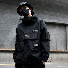 Item: Jacket Style: Streetwear Gender: Unisex Hooded: Yes Closure Type: zipper Decoration: Pockets Cuff Style: Rib sleeve Color: Black Combat Jacket, Cargo Jacket, Anorak Jacket, Men's Jacket, Mode Grunge, Tactical Jacket, Mens Windbreaker, Cyberpunk Fashion, Jacket Style