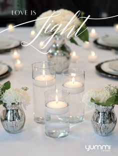 """Love is Light <3 Get a set of 18 staggered heights (6"""", 7.5"""",9"""") Floating Candle Centerpieces for $80. Choose from over 45 colors   <3"""