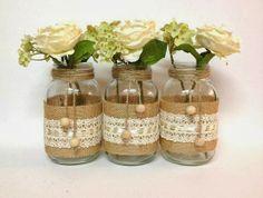 WEDDING RECEPTION DIY: MASON JAR VASES
