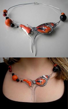 """Necklace   Jolanta Bromke.  """"Primavera"""".  Sterling silver, hand-painted leather, coral and onyx."""