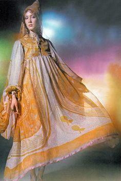 Moyra Swan in Zandra Rhodes, photo by David Bailey, Vogue UK, 1970