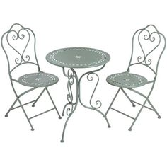 Duck egg blue iron bistro table and two chairs - White intimacy