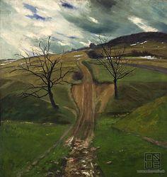Miloš Alexander Bazovský: Field road / Polná cesta (1922) Painting & Drawing, Printmaking, Fields, Milan, Golf Courses, Country Roads, Landscape, Drawings, Places